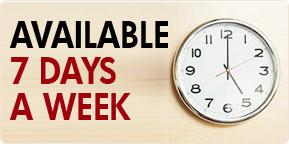 Avaliable 7 days a week